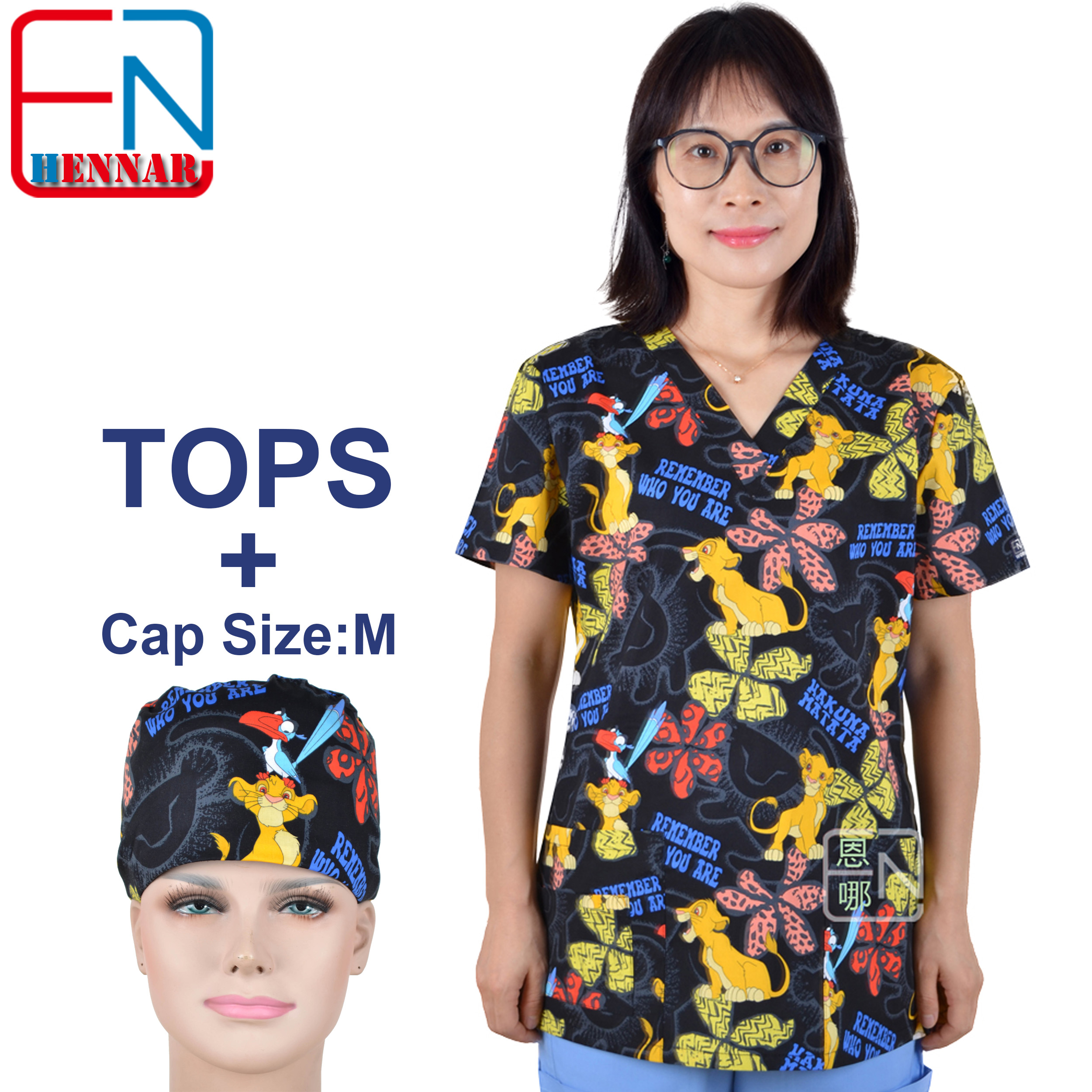 Hennar Medical Scrubs Nursing Scrubs Women Scrubs Nurse Medical Uniformes Medicos Para Mujer Scrub Tops+ Caps