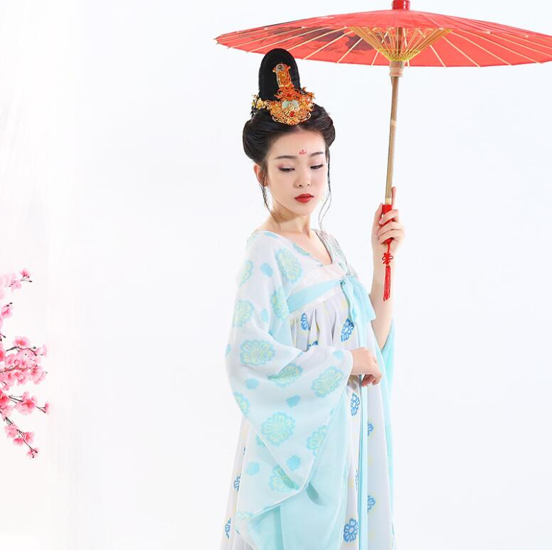 Sexy Casual Daily Hanfu Fresh Ancient Dress Long Fairy Dress Tang Dynasty Ru Realistic Dress Imperial Concubine Palace