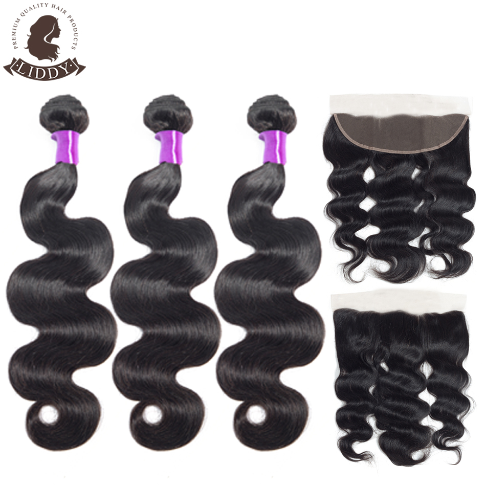 Liddy Body Wave Bundles With Frontal Brazilian 100% Human Hair 3 Bundles With Lace Frontal 13x4 Free Part Non Remy Hair