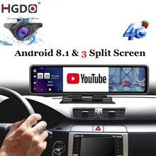 HGDO-Cámara de salpicadero DVR para coche, dispositivo para espejo retrovisor, grabadora de vídeo FHD, 1080p, wifi, GPS, con registro de y pantalla de 12 pulgadas, Android 8.1, 4G, ADAS