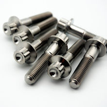 Grade.5 M7 x 32mm TC4 Titanium Bolts for BBS HRE SSR LM-R SUPER-RS Wheel Hub Two-Three-piece 12-Point Flange Ti Screws Forged