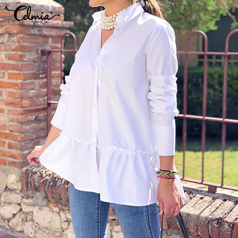 2019 Celmia automne femmes blouses décontractées à manches longues à volants chemises boutons en vrac solide travail Blusas Femininas hauts grande taille 7