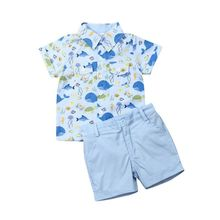 Toddler Boy Clothes Set Baby Kids Whale Outfit Children Gentleman Suit Short Sleeve Shirt+Shorts Summer Clothing 2pcs 1-5T
