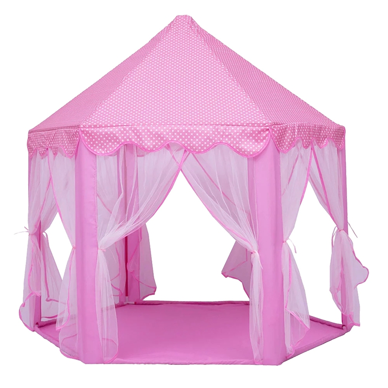 Play Fairy House Indoor And Outdoor Kids Play Tent Hexagon Princess Castle Playhouse For Girls Funny Pink