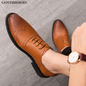 Pointed Toe Buty Meskie Men Brogue Carved Men Shoes Zapatos Casual Business Casual Zapatos De Hombre Buty Meskie Fashion фото
