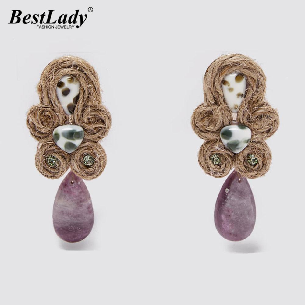Best Lady New Handmade Za Earrings 2020 Fashion Women Statement Jewelry Nature Stone Crystal Drop Dangle Earrings Wedding Gifts