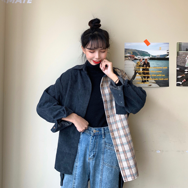 harajuku corduroy blouse women long sleeve autumn new tops and blouses casual vintage streetwear cargo shirts camisas mujer 4