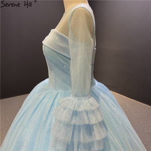 Image 4 - O Neck Blue High end Sexy Wedding Dresses 2020 Long Sleeve Ruched Tiered Bride Gowns Serene Hill DHA2316 Custom Made