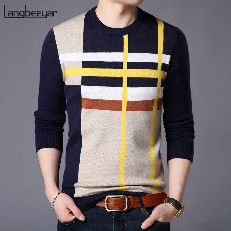 2019 New Fashion Brand Sweater For Mens Pullover O-Neck Slim Fit Jumpers Knitred Woolen Winter Korean Style Casual Mens Clothes