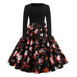 RICORIT Women Christmas Dress Swing Elegant Women Print Dress Party Dresses Long Sleeve Dress Vintage Women Dress Robe Plus Size 3