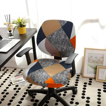 Printed Computer Chair Cover Spandex Office 2 Pieces 2 Chair And Sofa Covers