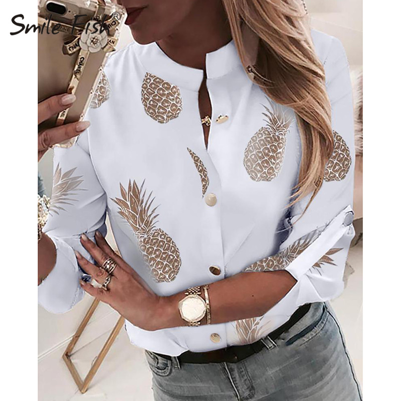 Plus Size 2XL Casual Women Blouse Pineapple Printed Buttons White Shirts 2019 Adjustable Long Sleeve Female Fashion Blusas GV067