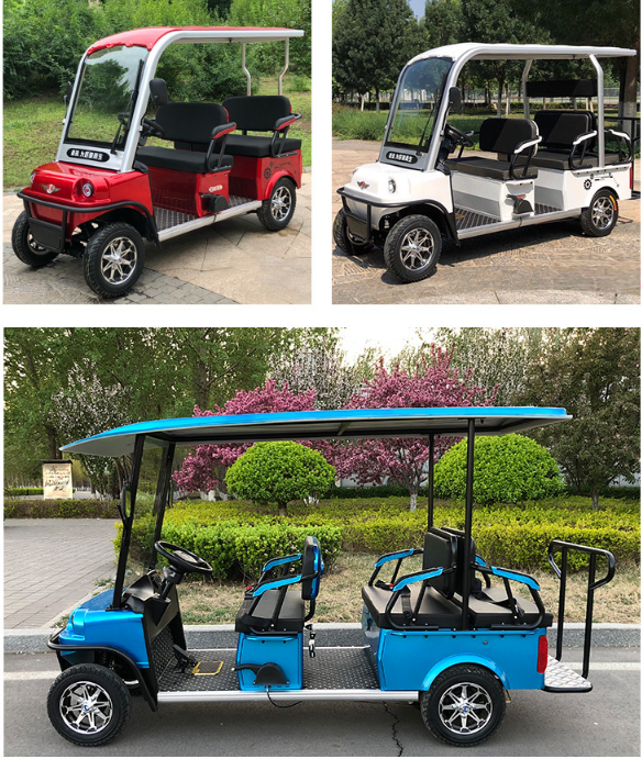 2020 New Design 4 Seater Adult Electric Golf Carts Motorized  Tandem Rickshaw Surrey Sightseeing Bicycle for Sale 6