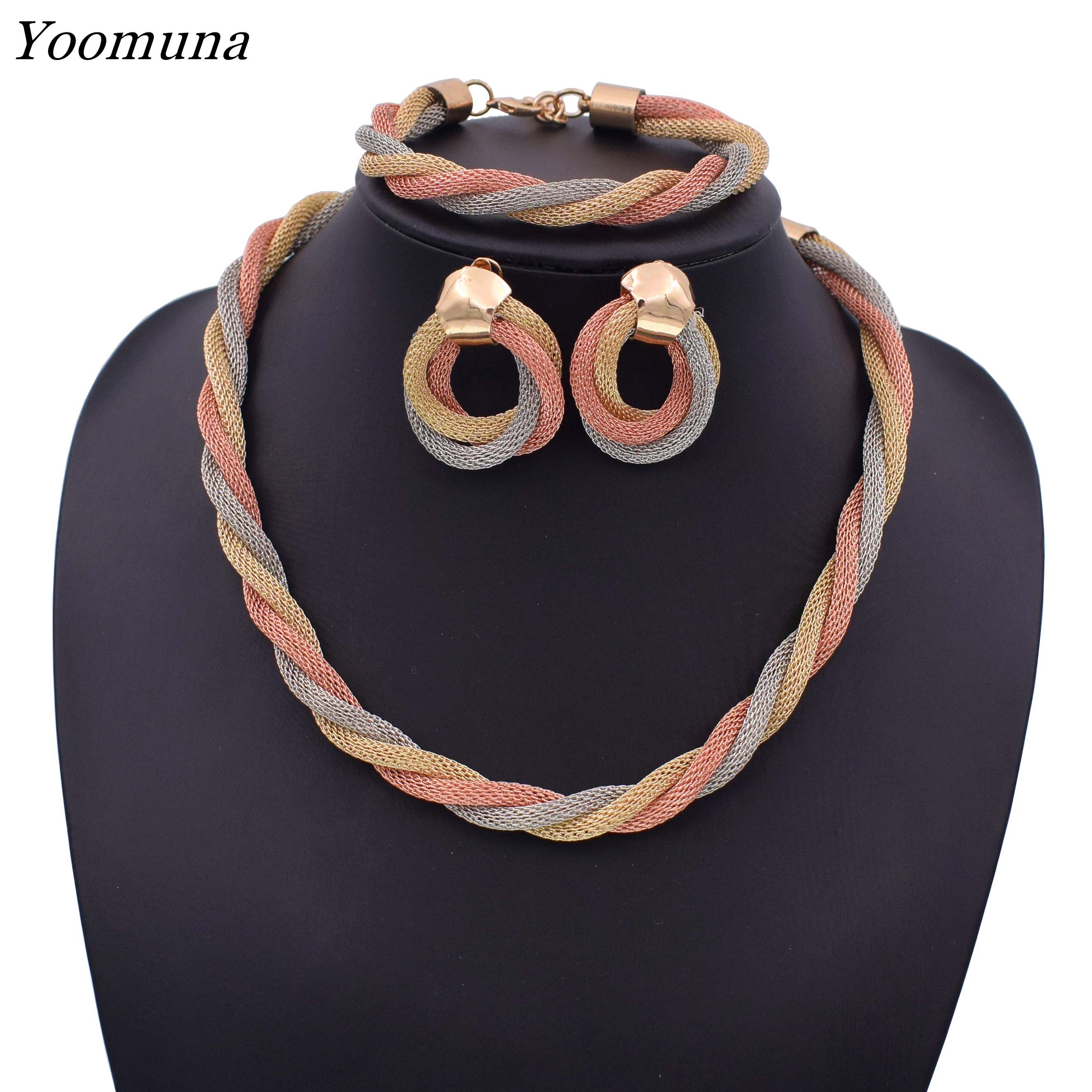 <font><b>Jewelry</b></font> <font><b>Set</b></font> <font><b>For</b></font> Women African Beads <font><b>Jewelry</b></font> <font><b>Set</b></font> Wedding Twist Weave Choker Necklace Bridal Dubai Ethiopian Jewellery <font><b>Sets</b></font> <font><b>2019</b></font> image