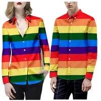 Men's Shirts Europe Size 2019 New Rainbow Stripe Print Unisex Dress Shirts Loose Long Sleeve British Style Men's Shirt