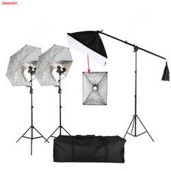 Photography set Umbrella lamp ceiling lamp set double lamp set 50*70CM single lamp head soft box 135W photography bulb CD50 T03
