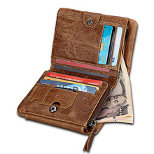 все цены на New Women Men Wallets Genuine Leather Short Bifold Purse Top Layer Cowhide RFID Blocking Tri-Folds Card Wallet For Man Ladies