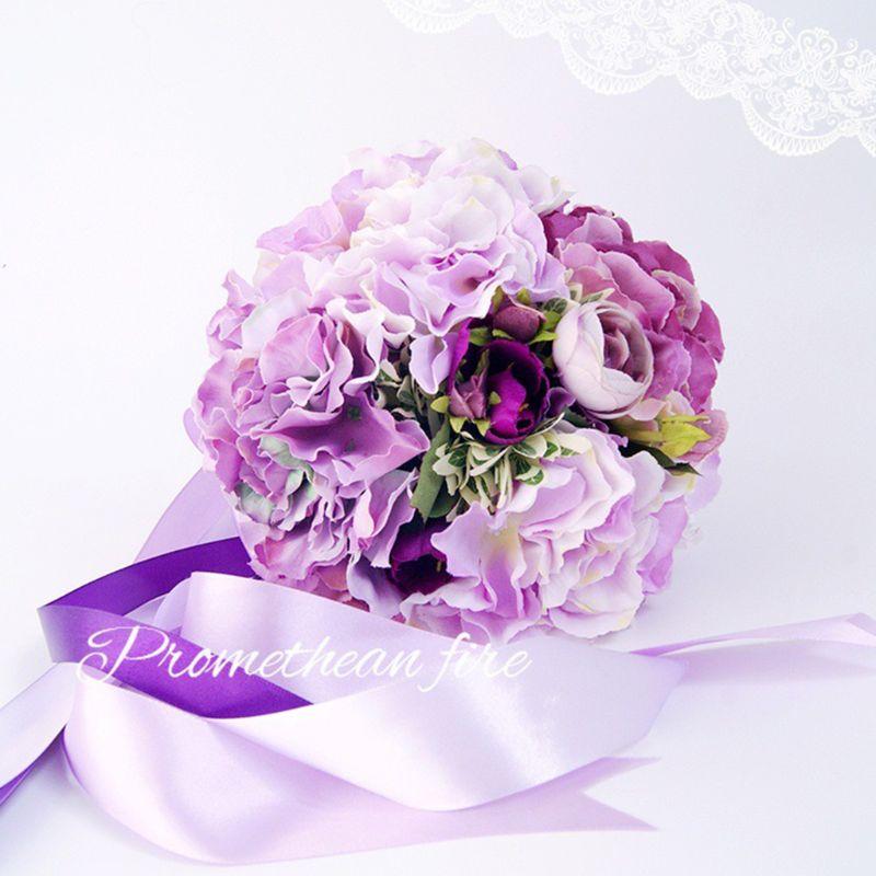 Bridal Bridesmaid Wedding Holding Bouquet Artificial Hydrangea Flower Long Satin Ribbon Decor Party Decoration Gift Photo Props