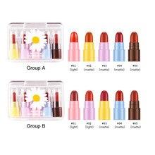 5Pcs Matte Lippenstift Set Wasserdicht Make-Up Lip Gloss Bequeme Lange anhaltende Lip gloss Kit Kosmetik Samt Sexy Rot lip Koreanische