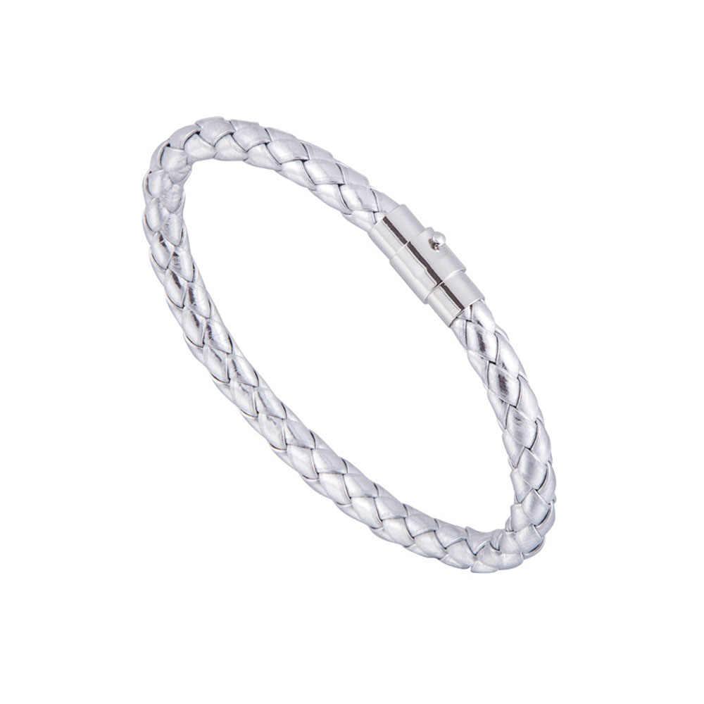 1PC tkana bransoletka para bransoletka plecione skórzane bransoletki dla kobiet mężczyzna stal zapięcie magnetyczne skórzana bransoletka biżuteria
