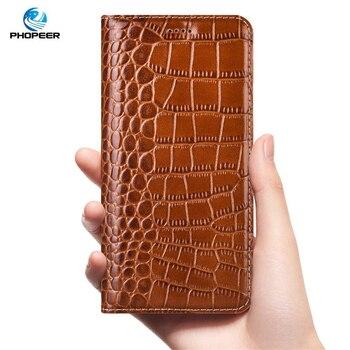 Krokodyl skórzany futerał dla zte blade v7 V8 V9 V10 vita biznes klapki etui na telefony komórkowe