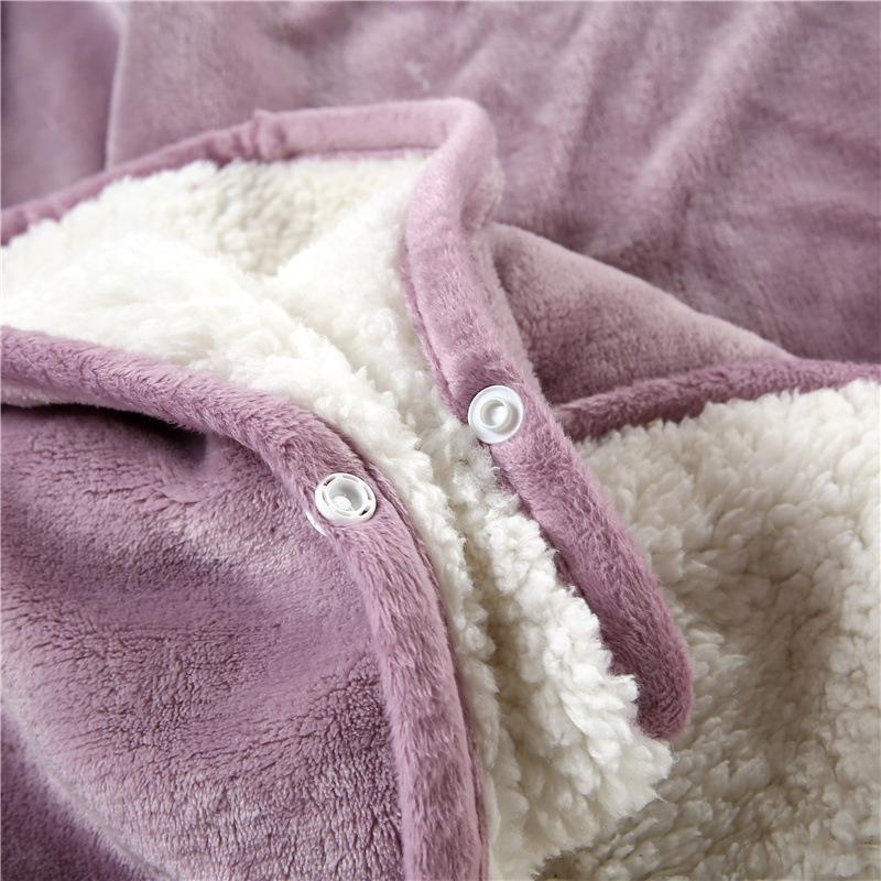 Flannel Blanket Hoodie Travel Totoro Blanket Soft Fuzzy Fluffy Blankets Sweatshirt Solid Winter Warm Fleece TV Blankets for Beds 7