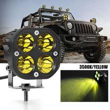 Światło robocze LED 3 Cal 40W 3500K żółta kwadratowa lampa robocza 4000lm 12V 24V off road dla ciężarówki 4X4 4WD akcesoria samochodowe