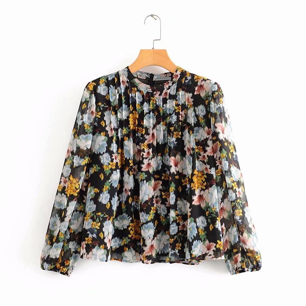 New Women Fashion Ink Painting Floral Print Casual Pleated Shirts Blouse Women O Neck Chiffon Smock Roupas Femininas Tops LS6325