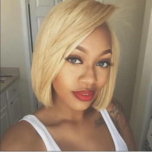 Honey Blonde Short Bob Lace Front Human Hair Wig SOKU Brazilian Straight 4x4 Lace Closure Wig For Black Women PrePlucked Bob Wig(China)