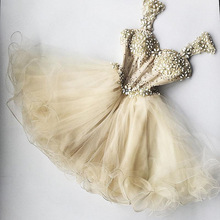 Dress Cocktail-Dresses Champagne Tulle Graduation Formal Crystal Appliques Ruffles Sexy