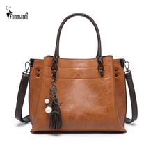купить FUNMARDI Retro Ladies Handbags Tassel Design Shoulder Bags Bucket Women Bag PU Leather Crossbody Bags For Women Tote WLHB2015 онлайн