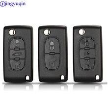 Jingyuqin 20PS Key SHELLสำหรับPeugeot 307 407 308 607 สำหรับCitroen C2 C3 C4 C5 C6 c8 XSARA PICA CE523 HU83 CE536 VA2