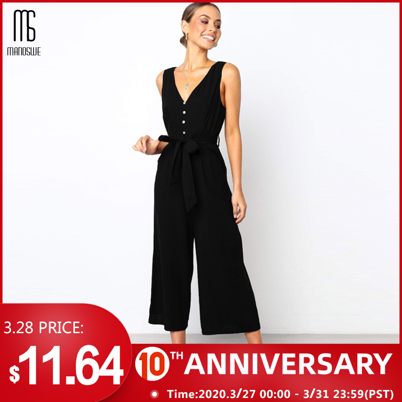 Manoswe Women Casual Button V Neck Black Jumpsuit Romper Sexy Summer Backless Overalls For Girls Loose Long Playsuit