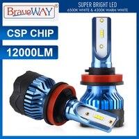 BraveWay-Kit de bombillas LED para correr, luces antiniebla blancas de 12V, CHIP CSP, H4, H7, H8, H9, H11, 9005, HB3, 9006, HB4, 6000K