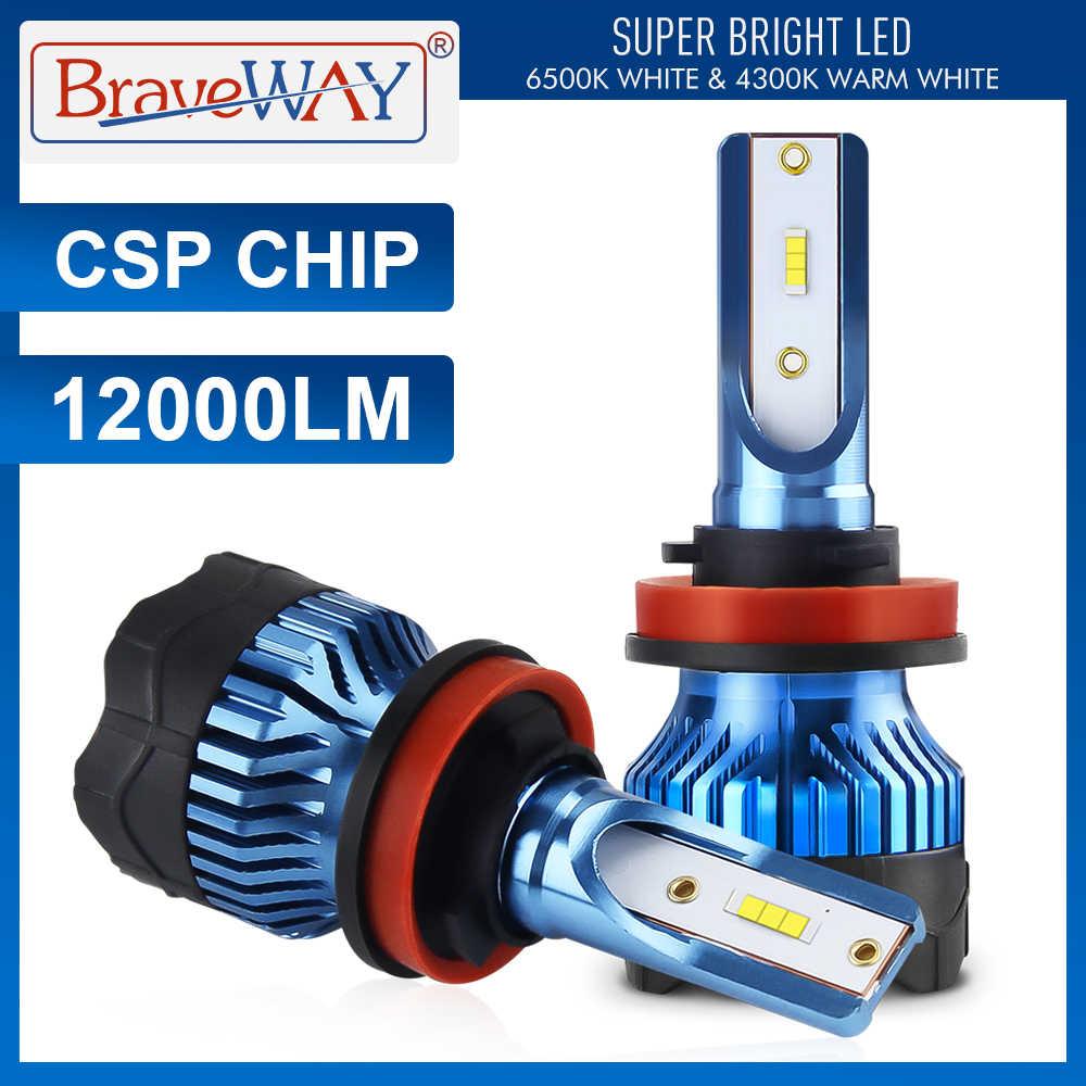 Braveway 12000LM H4 H7 Bóng Đèn Led Đèn Pha Bộ H8 H9 H11 9005 HB3 9006 HB4 6000K Trắng Sương Mù Chạy đèn LED 12V Đèn CSP Chip