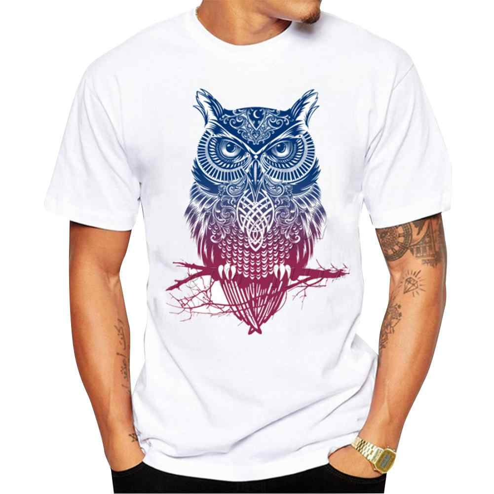 New Women Men tshirt White Color Stylish Owl pattern Printing Casual Short Sleeves Round Collar Lovers T-shirt Male Tops Tee