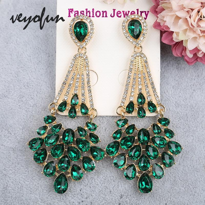Veyofun Vintage Hollow Cystal Rhinestone Drop Earrings Classic Party Dangle Earrings Fashion Jewelry for Women Gift