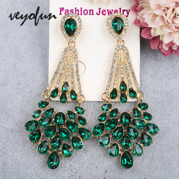 Veyofun Vintage Hollow Cystal Rhinestone Drop Earrings Classic Party Dangle Earrings Fashion Jewelry for Women Gift