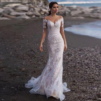 Long Sleeve Mermaid Wedding Dress Elegant 2020 Vestido De Novia See Through Buttons Back Appliques Lace Trumpet Gowns - discount item  45% OFF Wedding Dresses