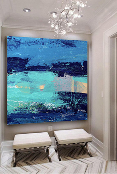 Blue Painting Seascape Painting Large Wall Art Abstract Canvas Art Landscape Painting Sunset Painting Ocean Painting Home Decor