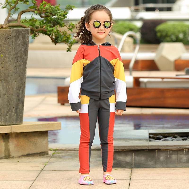 Korean-style CHILDREN'S Swimwear Children Men And Women Children Long Sleeve Trousers Split Type Sun-resistant Hoodie Baby Cloth