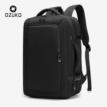 OZUKO 15.6 inch Laptop Backpack Men Large Capacity Expandable Water Repellent Backpack Male Business Travel USB Charge Rucksack