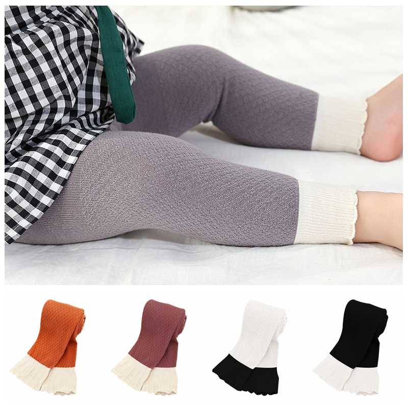 2019 Hot Sale Baby Girl Stretch Leggings Pants Toddler Child Knitting Trousers Candy Color Baby Pants Spring Autumn