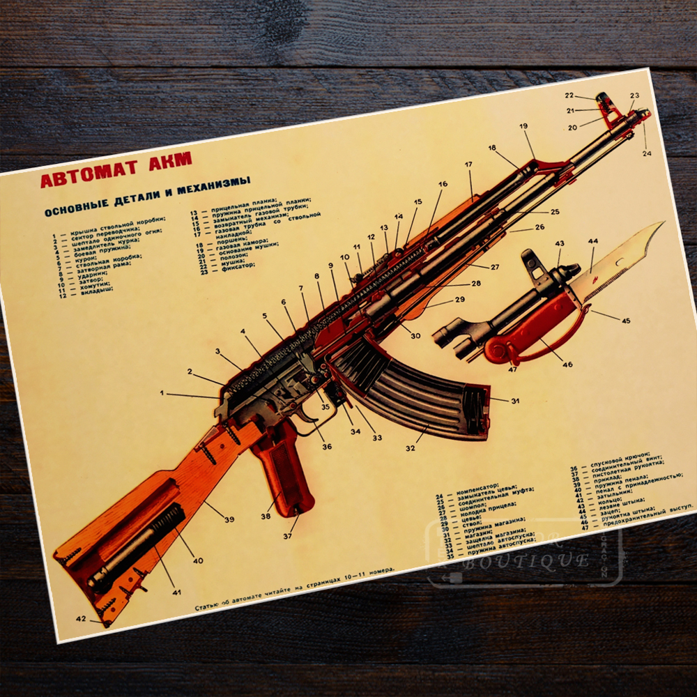 2016 Hot Vintage Russia Ak47 Improved Structure Poster In <font><b>Wall</b></font> <font><b>Sticker</b></font> <font><b>Retro</b></font> Kraft Paper Map Room Decorations Large Bar Painting image