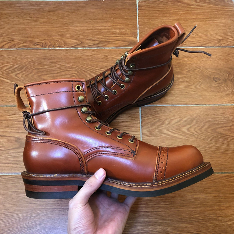 Yomior New Vintage Round Toe Men Shoes Lace-Up Genuine Cow Leather Ankle Boots Work Dress Motorcycle Boots Red Brown Casual