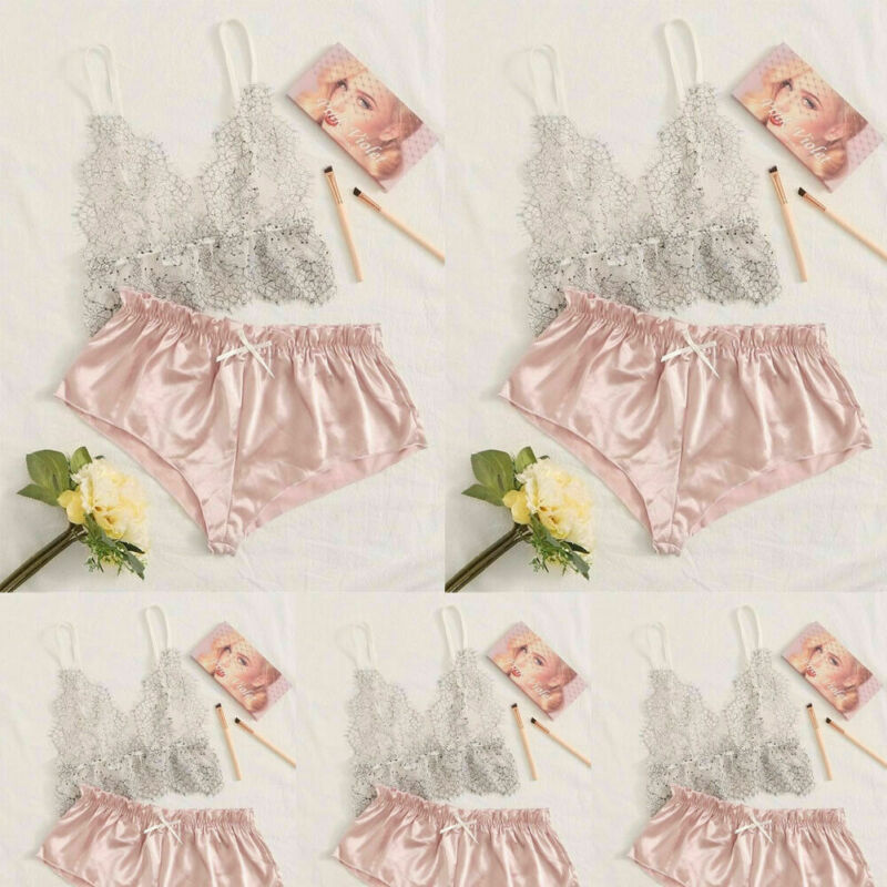 NEW Women Pajamas Silk Pajamas Sleepwear Nightwear Deep V Sling Lingerie Set Summer Fashion Sexy Sleeveless Lace Sleepwear Set