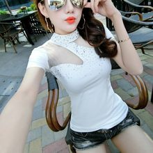 2020 New Women Sexy Halter See Through T Shirt Summer Night Club Diamonds Sequined Slim Fit Ladies Casual Tops Black White Tees(China)