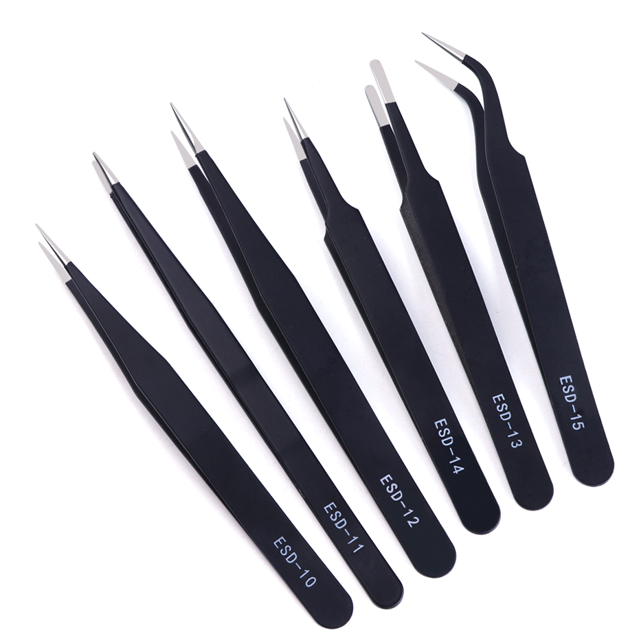 6pcs Tweezers Set Anti-static Eyelash Extension Forceps Eyebrow Tweezers Straight Curved Picker High Precision Tool TRESD10-15-2