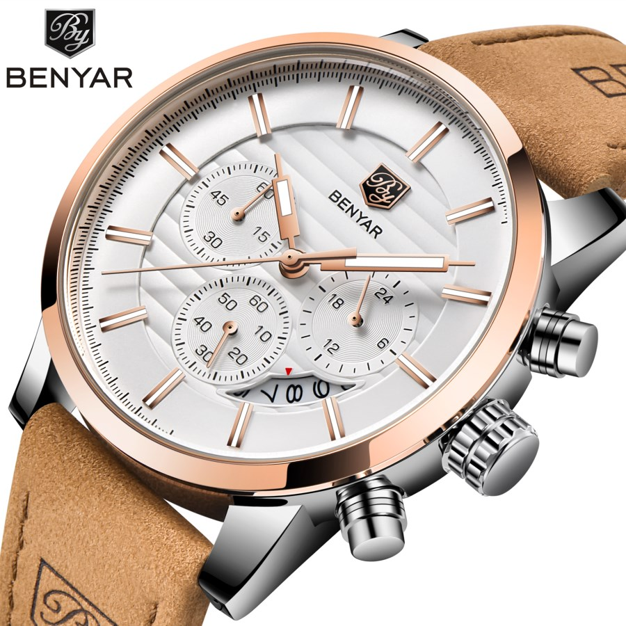 <font><b>BENYAR</b></font> Fashion Quartz Men Watch Top Brands Luxury Stainless Steel Military Waterproof Clock Men gift watch Relogio Masculino image