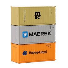 Contenedor de 20 pies de escala N mixto, contenedor de envío de 1:150 20 pies, accesorio de modelo, 3 uds.